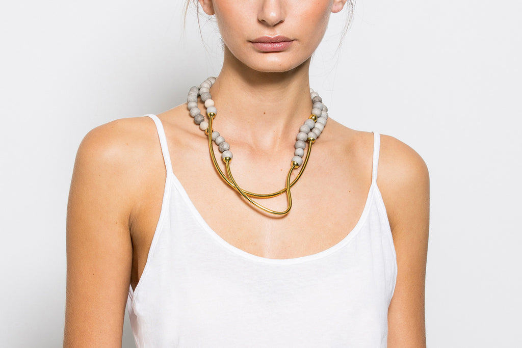 Tahndi Long Necklace - Grey & Gold