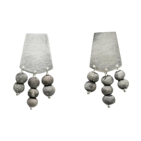 Kali Short Earrings - Charcoal & Silver