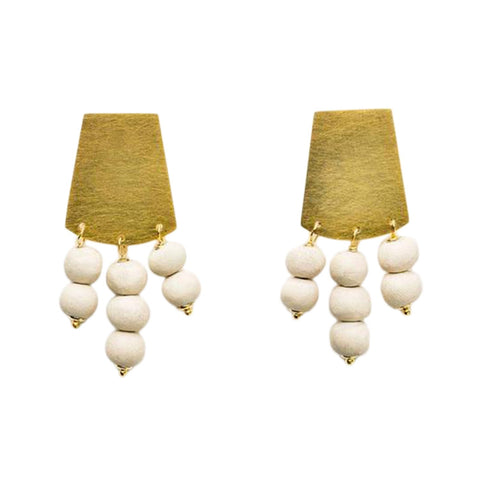 Kali Short Earrings - Stone & Gold