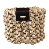 Jute Basket with Leather Detail