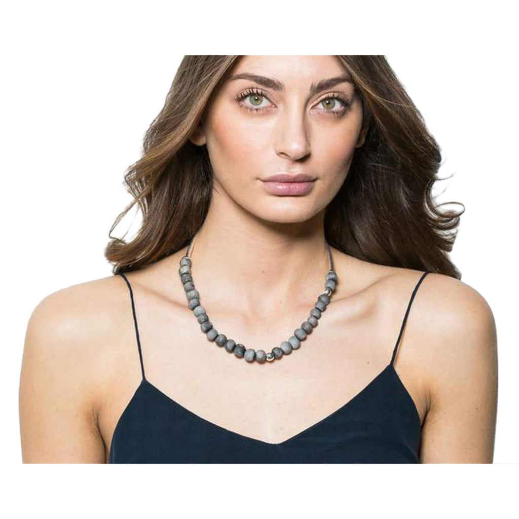 Zoya Short Necklace - Charcoal & Silver
