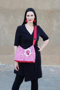 Josephene Signature Handbags in Soft Red Linen