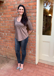 LUCIA Shaped Top in Taupe