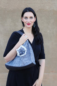 Josephene Signature Handbag in Soft Black Linen