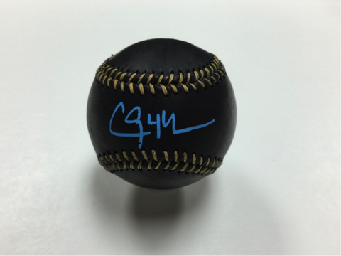 Clayton Kershaw official Rawlings signed black baseball in art deco blue ink