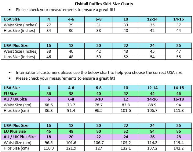 Fishtail Ruffles Skirt Size Chart