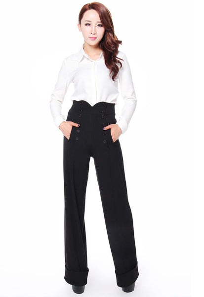 Vintage High Waisted Trousers, Sailor Pants, Jeans 1940s Style Pants $38.95 AT vintagedancer.com