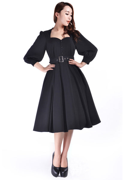 Plus Size Vintage Dresses, Plus Size Retro Dresses 1940s Glamour Dress $48.95 AT vintagedancer.com