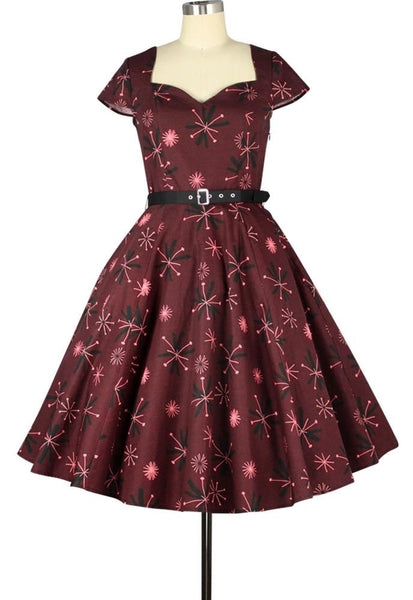 50s Sweetheart Belted Print Dress