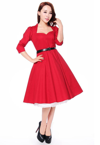 1950s Costumes- Poodle Skirts, Grease, Monroe, Pin Up, I Love Lucy Bow Back Dress $40.95 AT vintagedancer.com