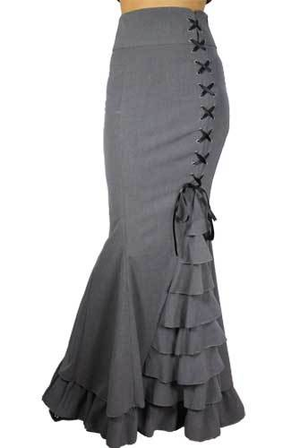 Steampunk Plus Size Clothing Fishtail Ruffles Skirt $61.95 AT vintagedancer.com