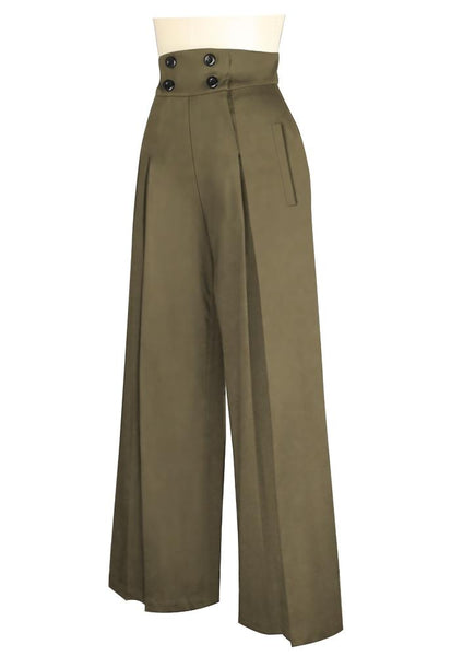 1940s Swing Pants & Sailor Trousers- Wide Leg, High Waist Khaki Vintage Wide Leg Pants $42.95 AT vintagedancer.com