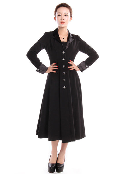 1930s Plus Size Dresses Long Fitted Flared Coat $59.95 AT vintagedancer.com