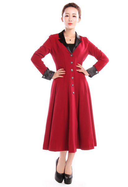 1950s Coats and Jackets History Long Fitted Flared Coat $68.95 AT vintagedancer.com