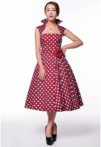 Polka Dot Bow Pleat Dress