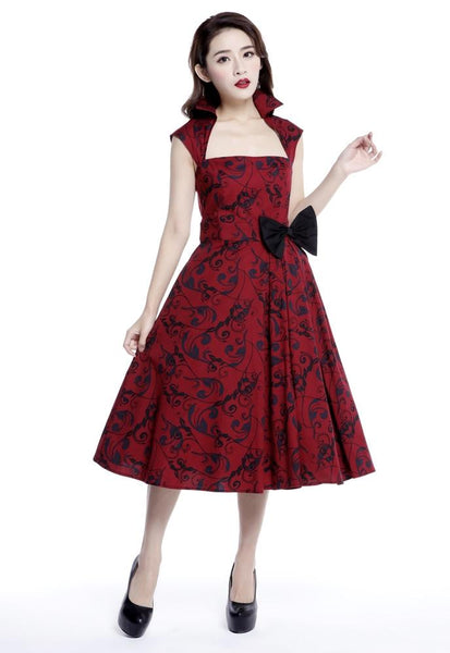 1950s Style Cocktail Dresses & Gowns Printed Bow Pleat Dress $43.95 AT vintagedancer.com