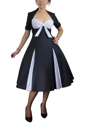 1950s Costumes- Poodle Skirts, Grease, Monroe, Pin Up, I Love Lucy Retro Polka Dot Dress $56.95 AT vintagedancer.com