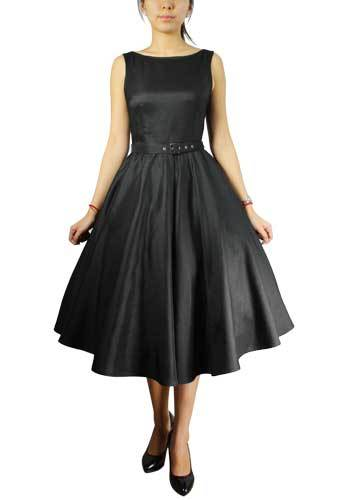 Satin Solid Belted Flared Dress