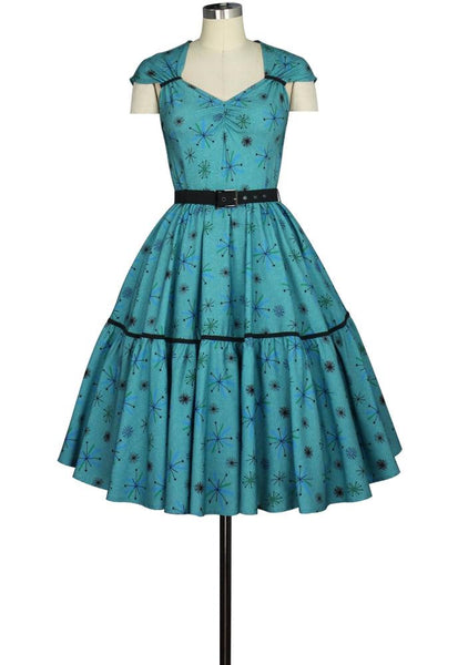 Rockabilly Dresses | Rockabilly Clothing | Viva Las Vegas Cap Sleeve Retro Print Hidden Pocket Dress $52.95 AT vintagedancer.com