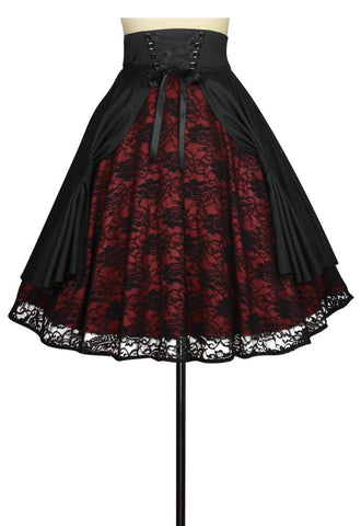 Draped Satin and Lace Skirt