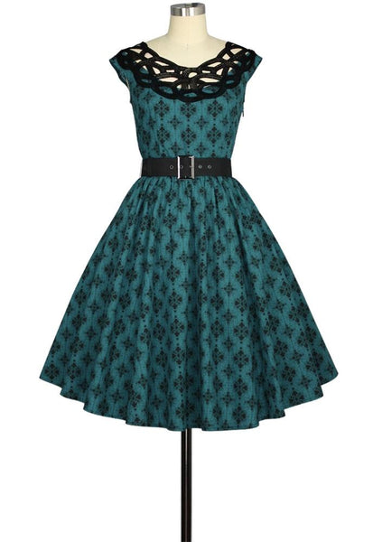 Lace Neckline Retro Pocket Print Dress