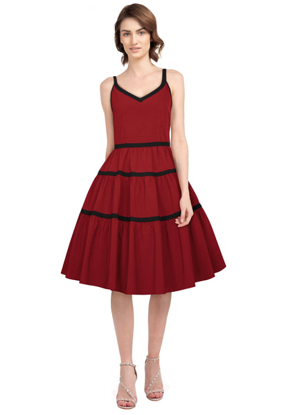 Layered Trim Spaghetti Strap 50s Dress