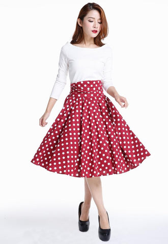 Polka Dot Retro Ruched 50s Skirt