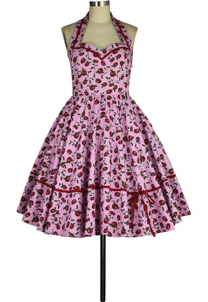 Rockabilly Dresses | Rockabilly Clothing | Viva Las Vegas Retro Sweetheart Halter Print Dress With Pockets $57.95 AT vintagedancer.com