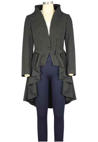 Victorian Costumes: Dresses, Saloon Girls, Southern Belle, Witch Sartorial Splendor Pinstripe Jacket $57.95 AT vintagedancer.com