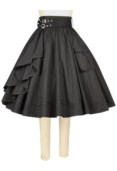 Side Ruffle Corner Pocket Skirt