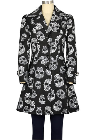 Ruffled Skull Print Jacket