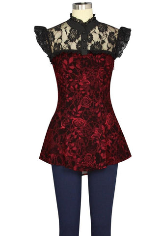 Steampunk Rose Print Lace Top with Corset Back
