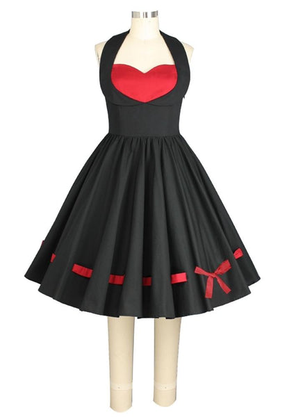 1950s Costumes- Poodle Skirts, Grease, Monroe, Pin Up, I Love Lucy Threaded Retro Bow and Heart Dress $49.95 AT vintagedancer.com