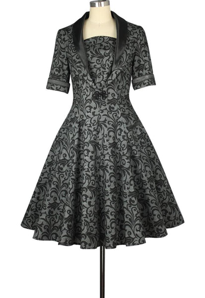 1950s Dresses, 50s Dresses | 1950s Style Dresses Tuxedo Print Dress $57.95 AT vintagedancer.com
