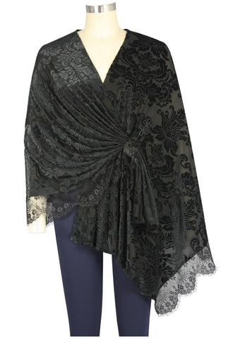 Velvet and Lace in Flowers Stole