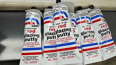 USC  Qty 1  Red Glazing Putty, 16 oz Tube, Made in USA # 32035 ready to use