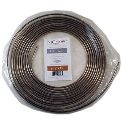 "CNC 325 3/16"" Copper Nickel Brake Line Easy Bend Easy Flare  25Ft Roll"