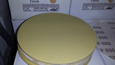 "6"" Hook & Loop Sand Paper Discs 800 Grit 25 Pack"