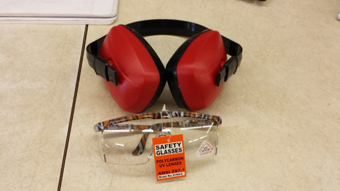 SAS 6105 Lightweight Banded Adjustable Ear Muff And Tiger Print Polycarbon Eye Protection Glasses