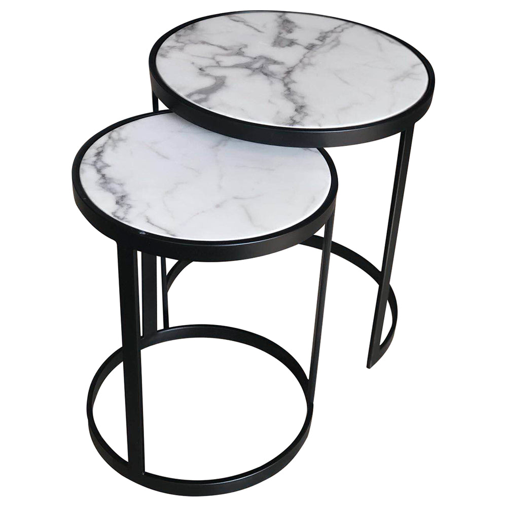 Glory Side Table Set White Marble