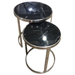Sterling Side Table Set Black Marble