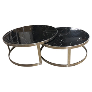 Sterling Coffee Table Set Black Marble