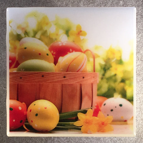 EASTER Coaster Custom Ceramic Tile Holiday Eggs - CoasterLily Tiles