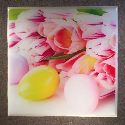 EASTER Eggs And Flowers Coaster Ceramic Tile Pink Tulips - CoasterLily Tiles