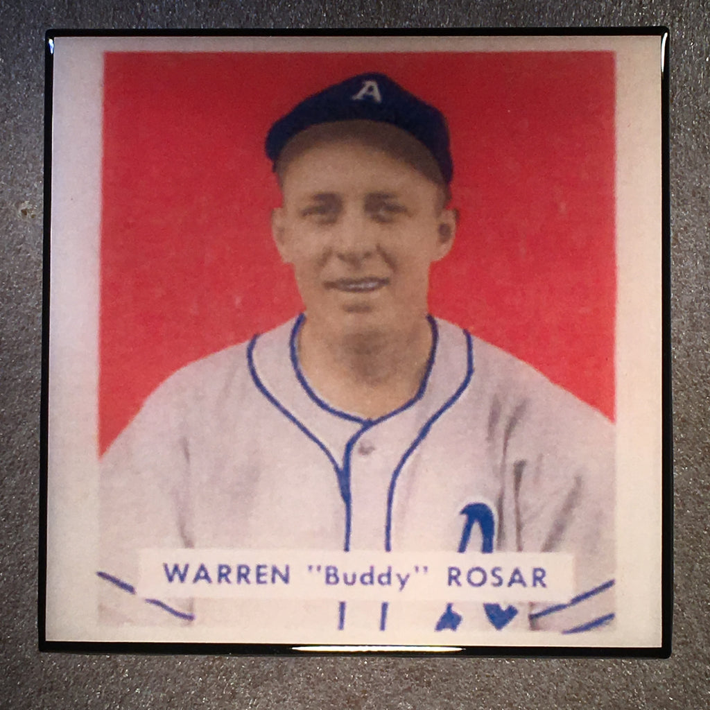 "WARREN ""Buddy"" ROSAR Coaster Baseball Card Ceramic Tile - CoasterLily Tiles"