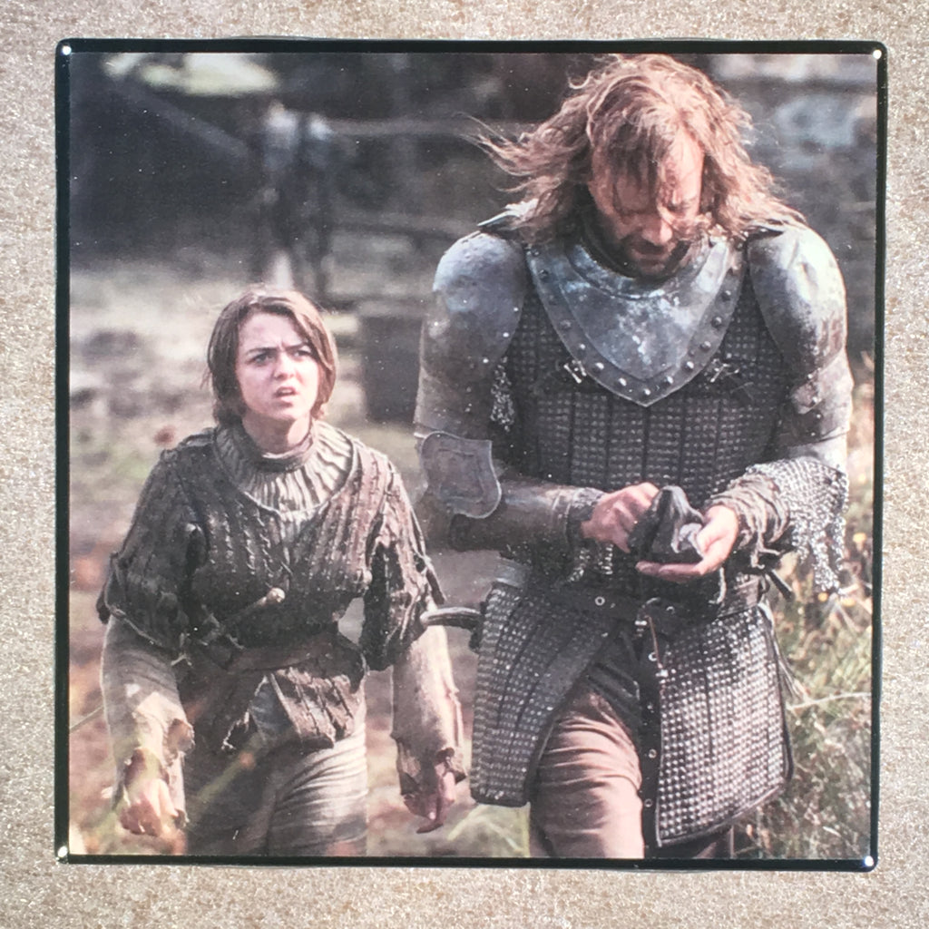 "THE GAME OF THRONES Arya Stark & Sandor Clegane Ceramic Tile Coaster ""The Hound"" - CoasterLily Tiles"