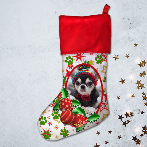 21 inch - Stars and Paws Design Christmas Stocking - Photo Upload - Free Shipping