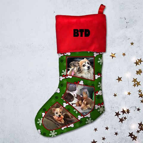 21 Inch - Chihuahua  Pet Memorial Christmas Stocking - Multiple Photo Upload - Free Shipping