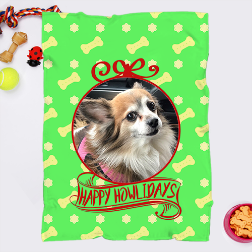 30 x 40 - Happy Howl-idays Personalized Minky Fleece Chihuahua Blanket - 2 Photo Upload - Free Shipping