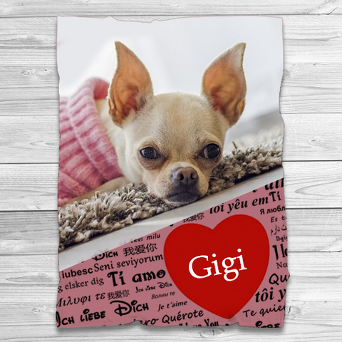 30 x 40 - Personalized Chihuahua Minky Fleece Pet Blanket -  Upload Photos - Free Shipping